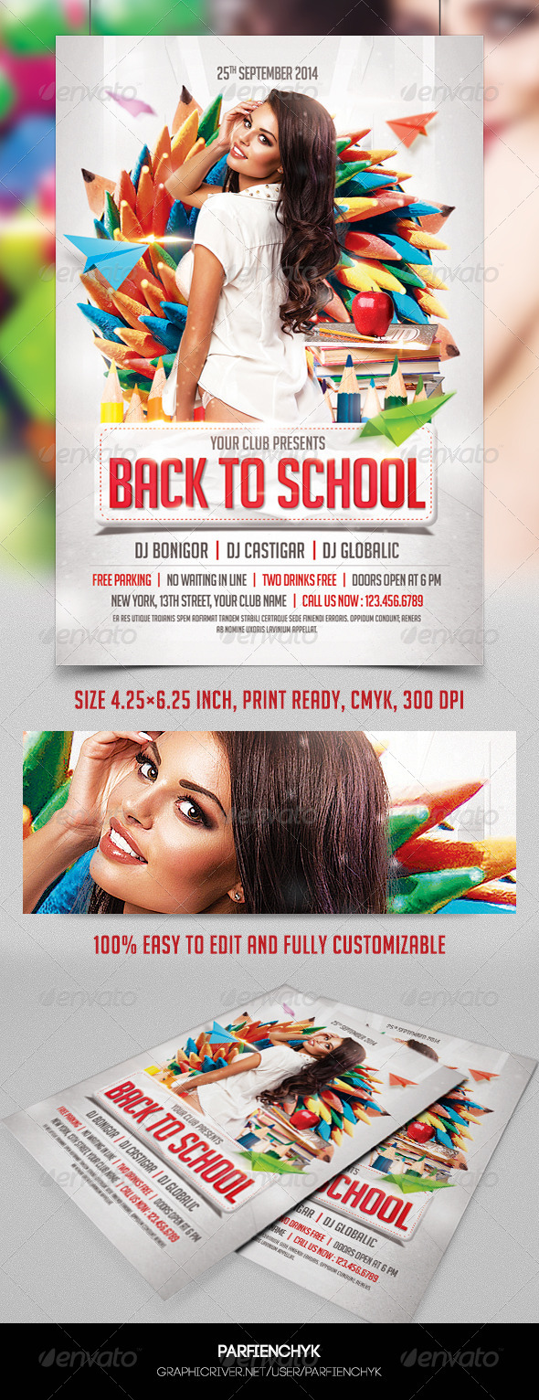 GraphicRiver Back to School Party Flyer Template 8438849