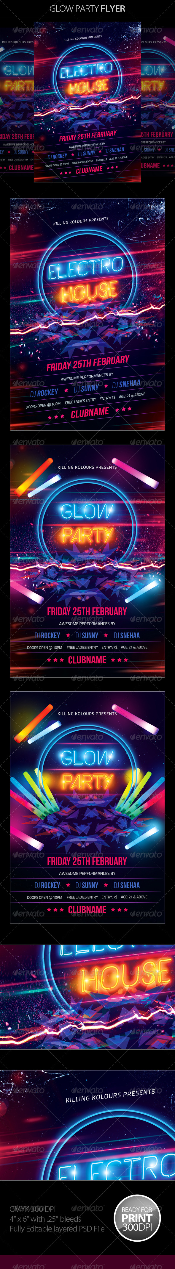 GraphicRiver Glow Party Flyer 8502827