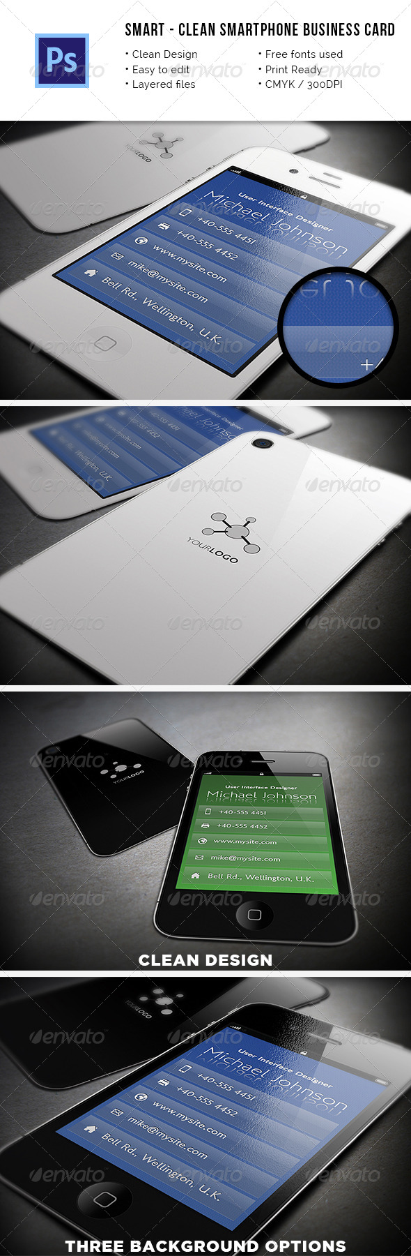 Smart Clean Smartphone Business Card