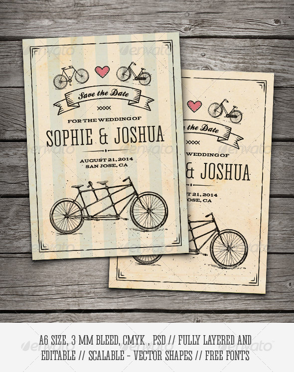 GraphicRiver Retro Bicycles Save The Date Card 8502910