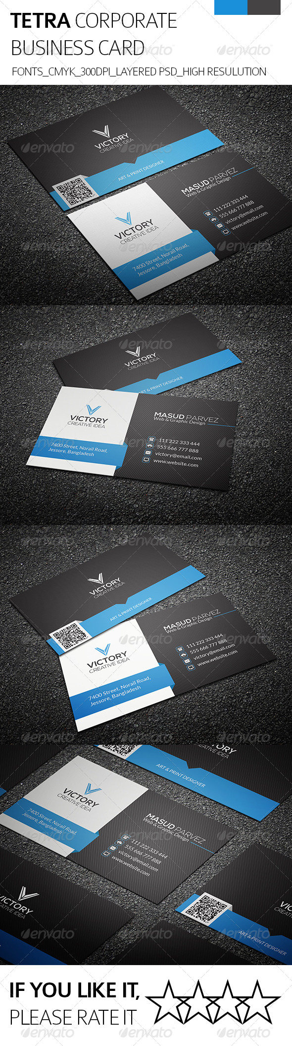 GraphicRiver Tetra & Corporate Business Card 8502979