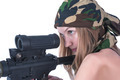 Attractive young woman aiming sniper rifle. Isolated over white - PhotoDune Item for Sale