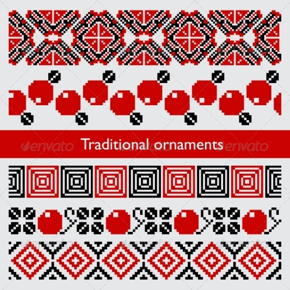GraphicRiver Traditional Pixel Seamless Ornaments Embroidery 8503028