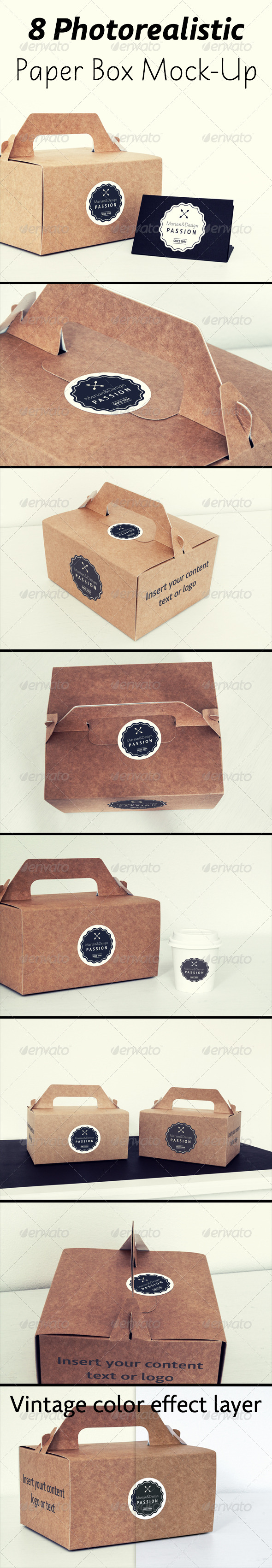 8 Photorealistic Paper Box & Logo Mock-Up