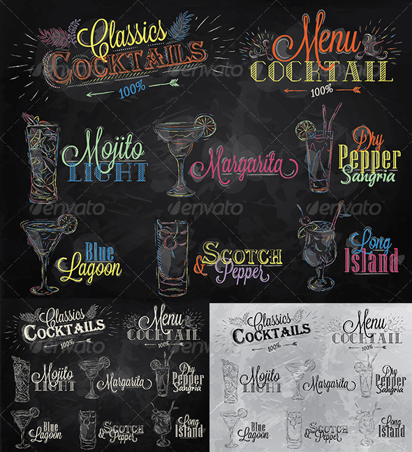 GraphicRiver Set of Cocktail Menu in Vintage Style 8503363