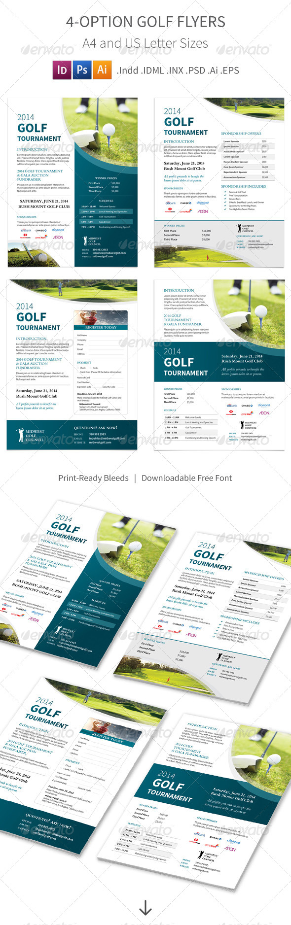 GraphicRiver Golf Tournament Flyers 4 Options 8503591