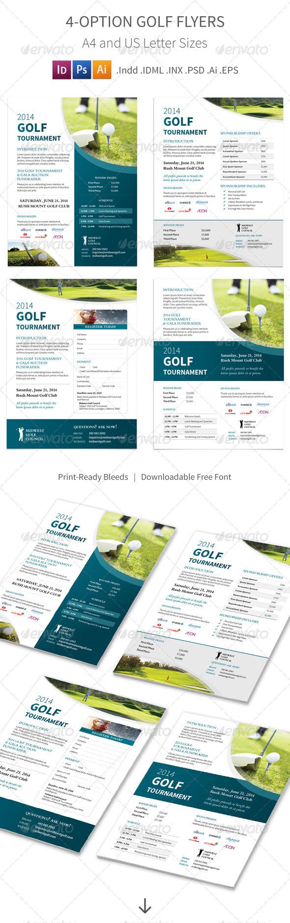 GraphicRiver Golf Tournament Flyers 4 Options 8503591