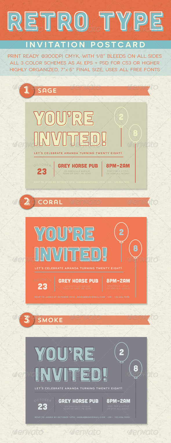 GraphicRiver Retro Type Invitation Postcard 8503592