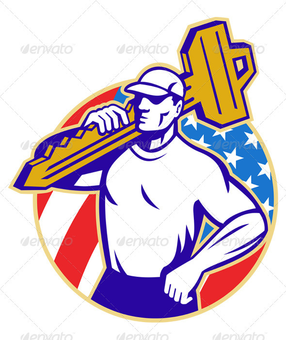 Locksmith Holding Key With American Flag