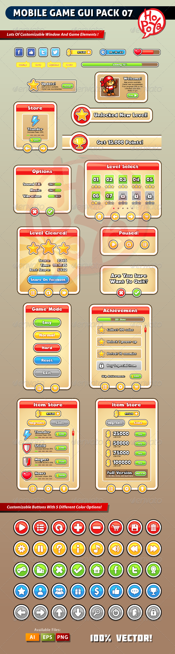 Mobile Game GUI Pack 07 - Web Elements Vectors