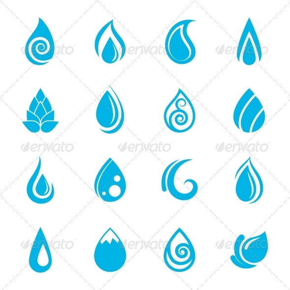 GraphicRiver Blue Water Drops Icons 8504033