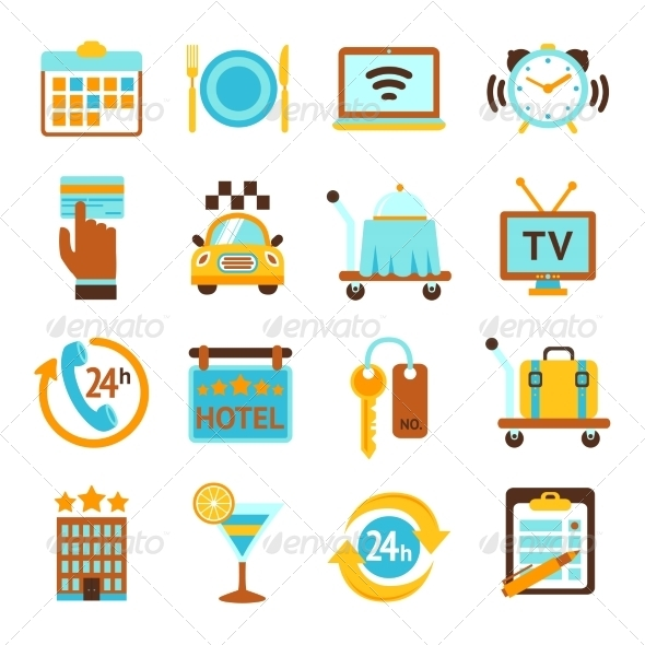 GraphicRiver Hotel Services Flat Icons Set 8504299