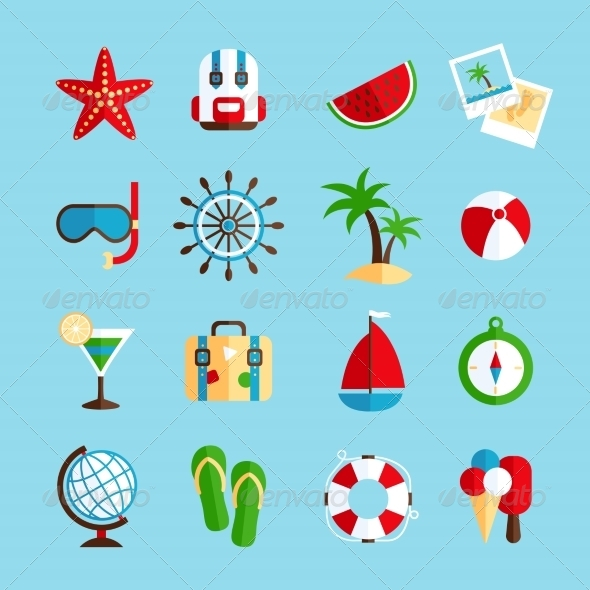 GraphicRiver Holiday Vacation Icons Set 8504303