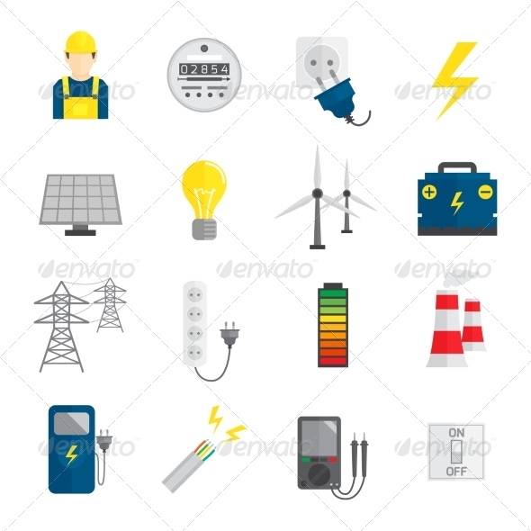 GraphicRiver Set of Electricity Icons 8504322