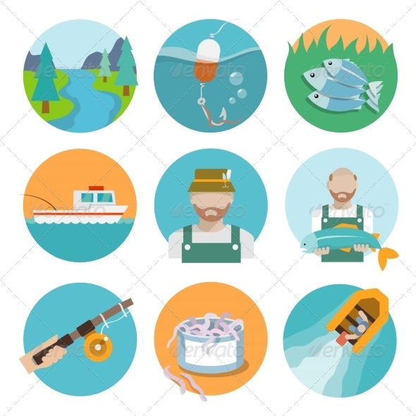 GraphicRiver Set of Fishing Flat Icons 8504326