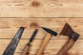 carpentry tools on a wooden background - PhotoDune Item for Sale