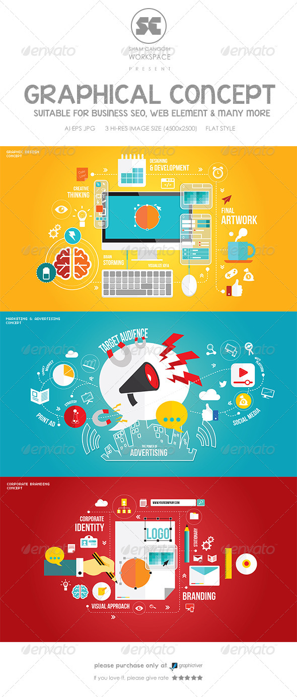 GraphicRiver Flat Concept For Branding Marketing & Designing 8495352