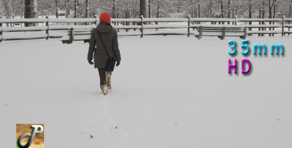 Woman Walking In The Snow 03