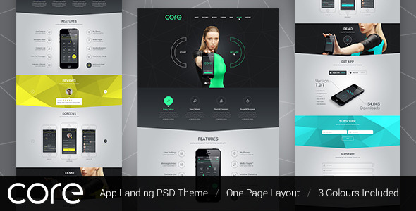 ThemeForest Core Mobile App Landing PSD Theme 8504932