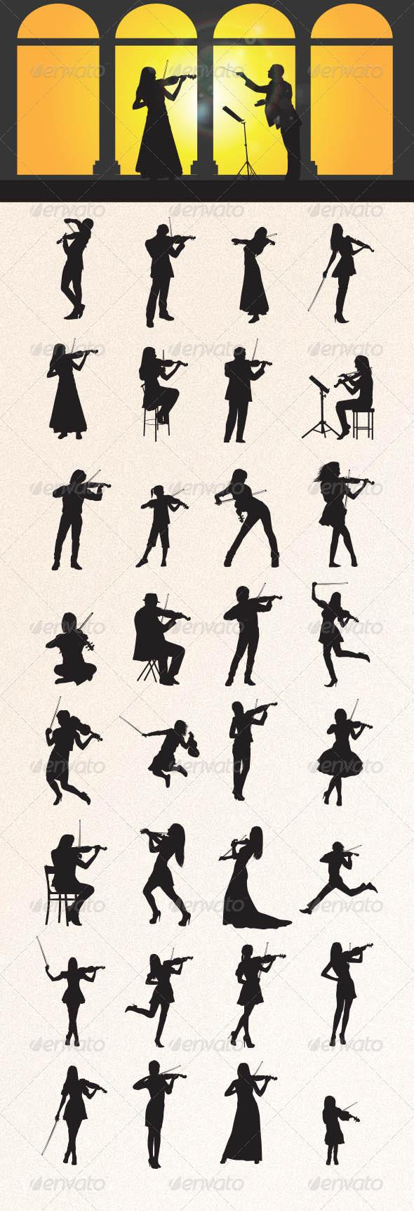 GraphicRiver Violinist Silhouettes 8505131