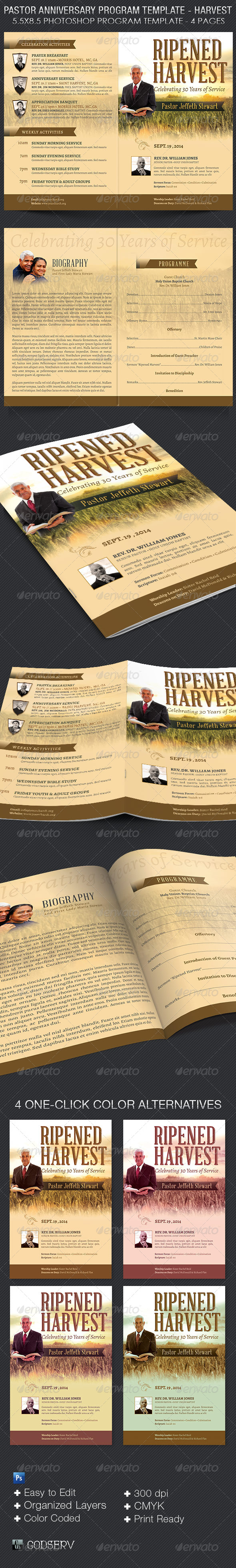 GraphicRiver Pastor Anniversary Program Template Harvest 8505161