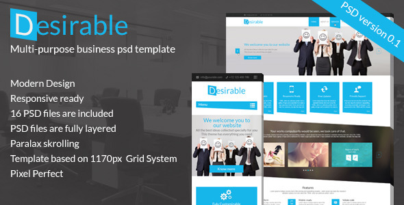ThemeForest Desirable Business PSD template 8427831