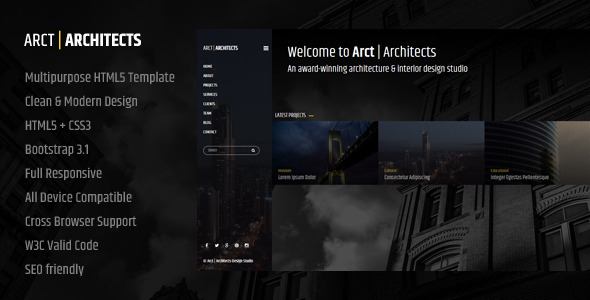ThemeForest Arct Architects Corporate Template 8505212