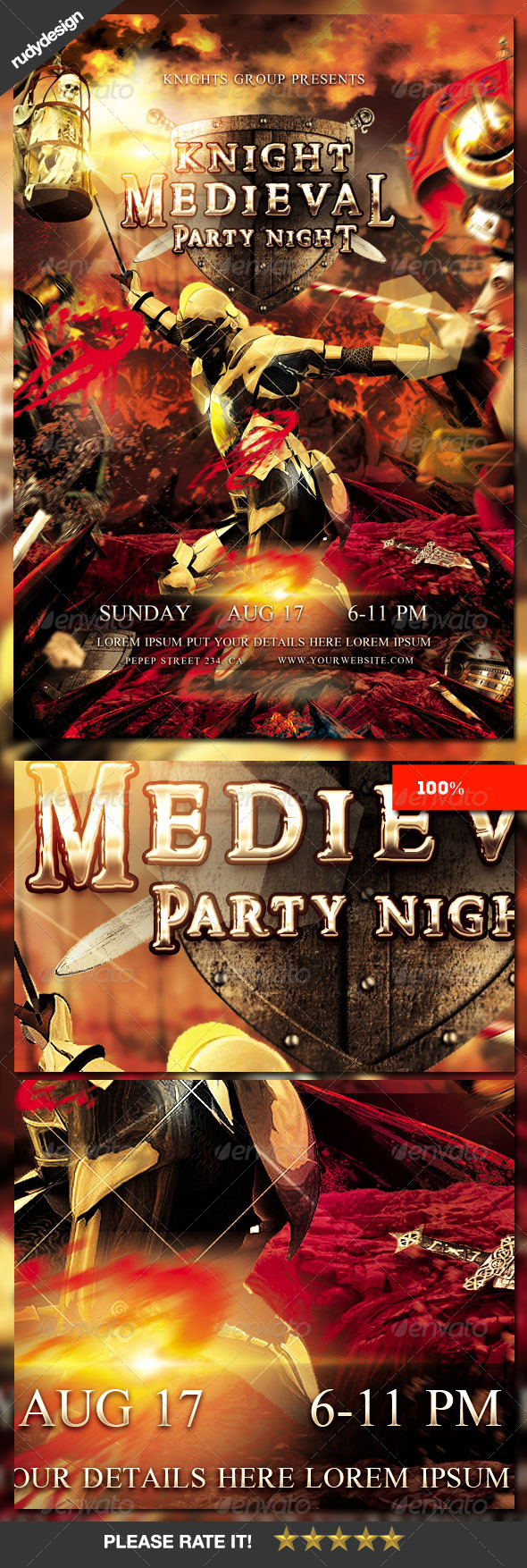 GraphicRiver Knight Middle Ages Medieval Period Party Flyer 8505466