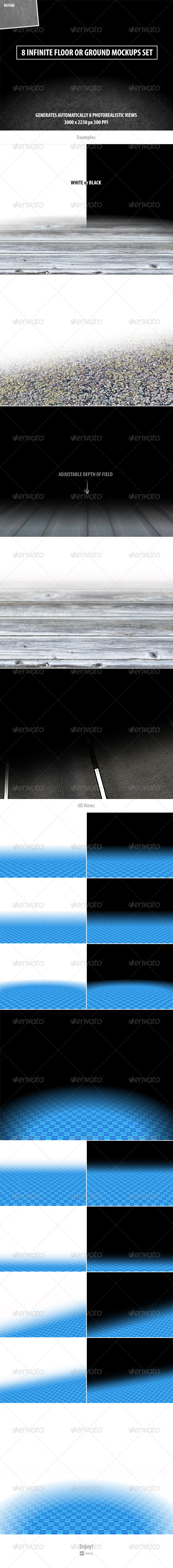 GraphicRiver 8 Infinite Floor or Ground Mockups Set 8505504