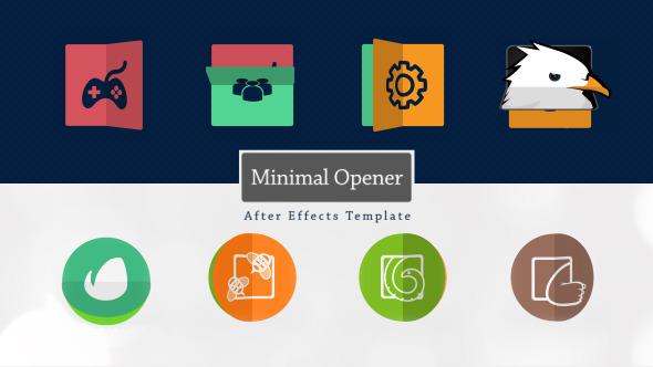 AE模板:4组迷你 公司企业logo折叠翻转展示模板Videohive Minimal Logo Opener