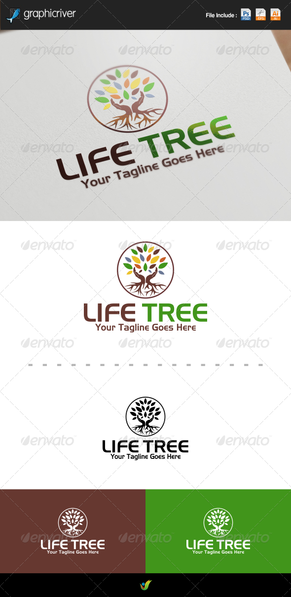 GraphicRiver Tree With Roots Logo 8505847