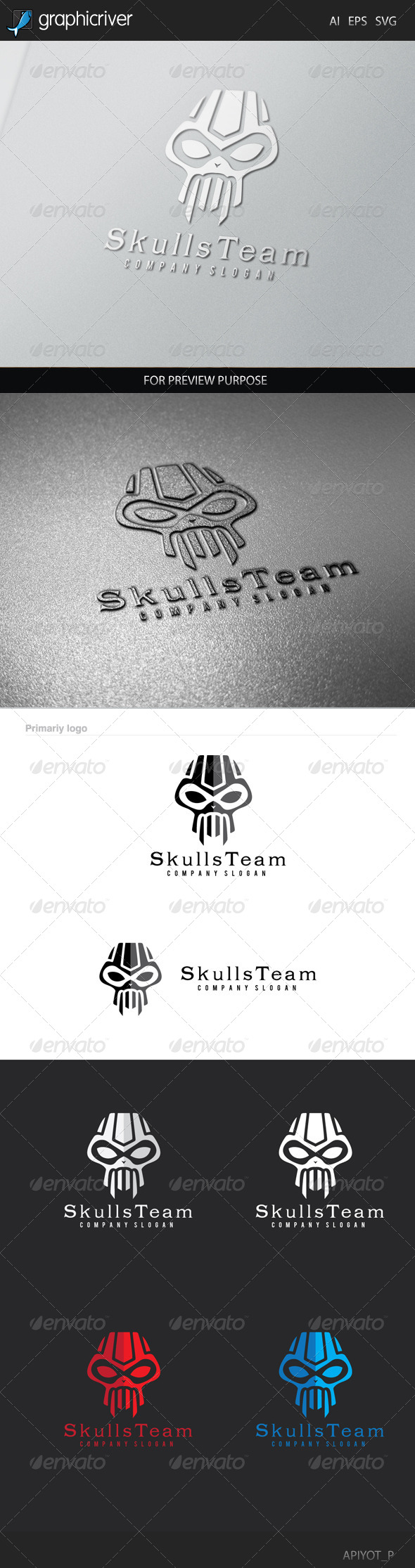 GraphicRiver Skulls Team Logo 8505919