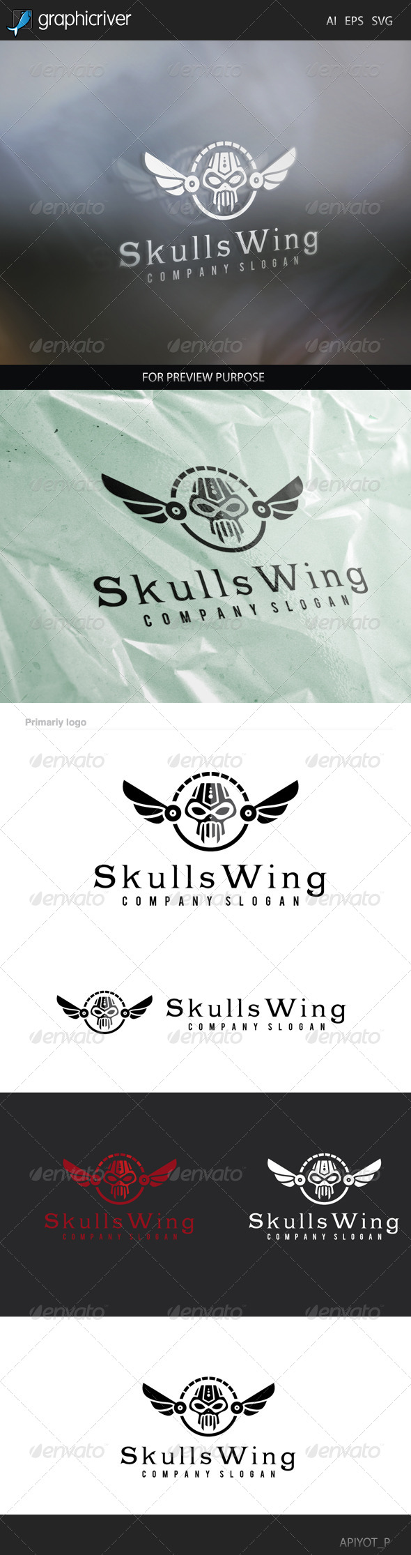 GraphicRiver Skull Wing Logo 8505936