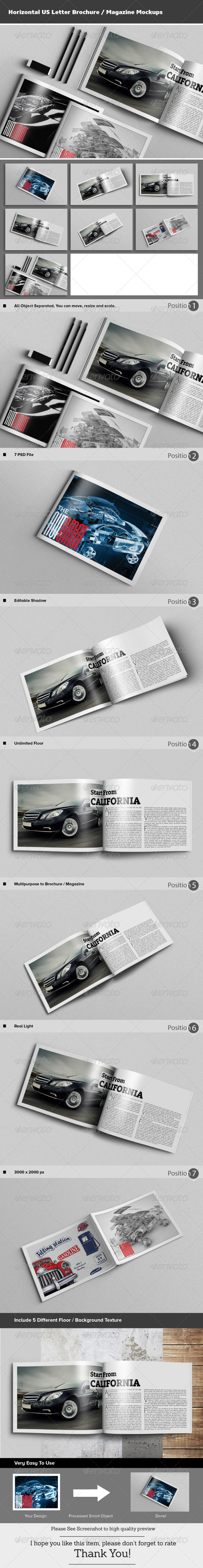 GraphicRiver Horizontal US Letter Brochure Magazine Mockups 8506448