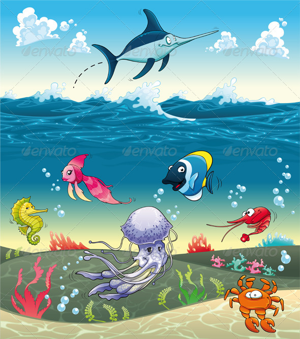 Graphic River Under the Sea With Fish and Other Animals Vectors -  Characters  Animals 857202