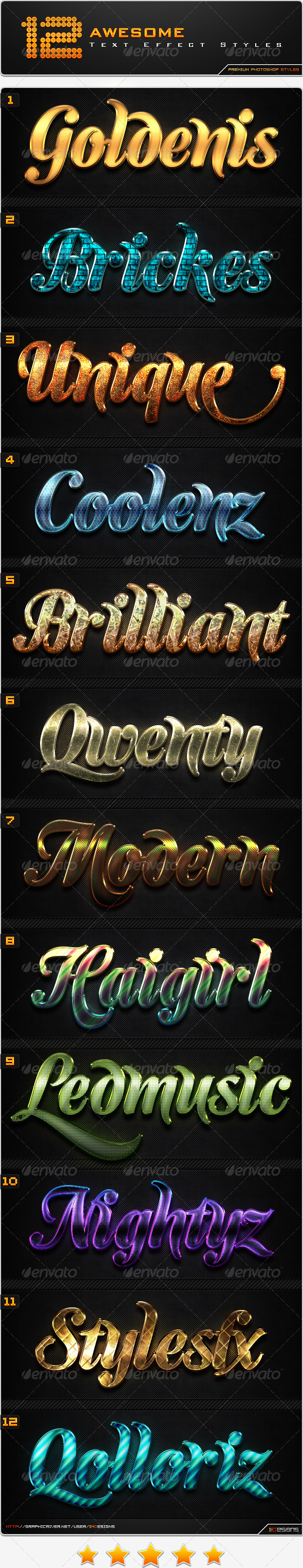 GraphicRiver 12 Awesome Text Effect Styles 8507767