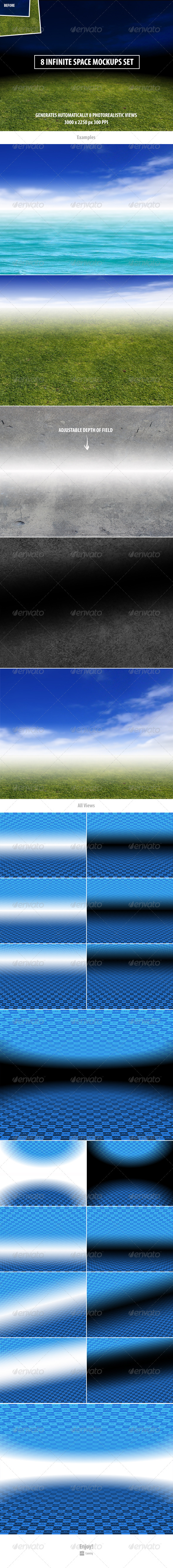 GraphicRiver 8 Infinite Space Mockups Set 8507881
