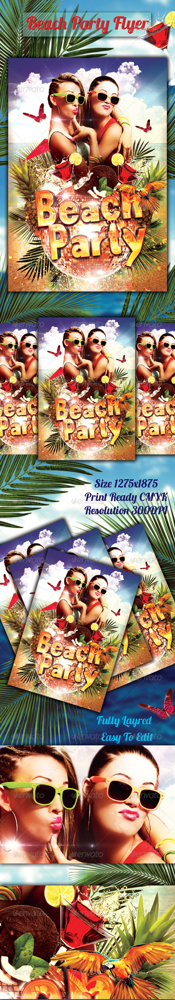 GraphicRiver Beach Party Flyer 8264211