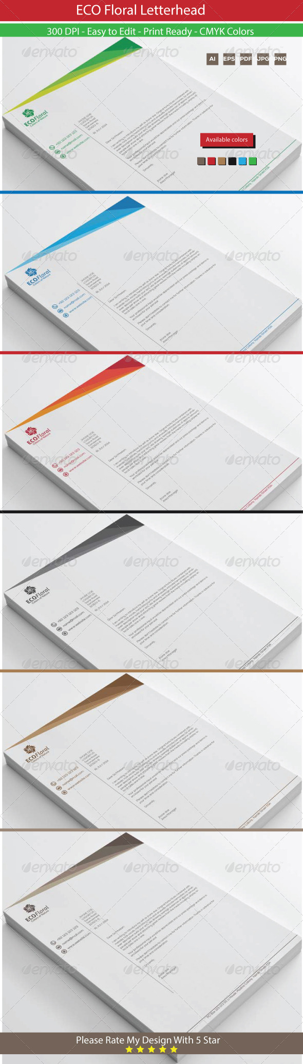 GraphicRiver Eco Floral Graphics Letterhead 8504944