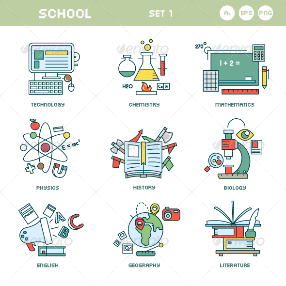 Line Icons for School