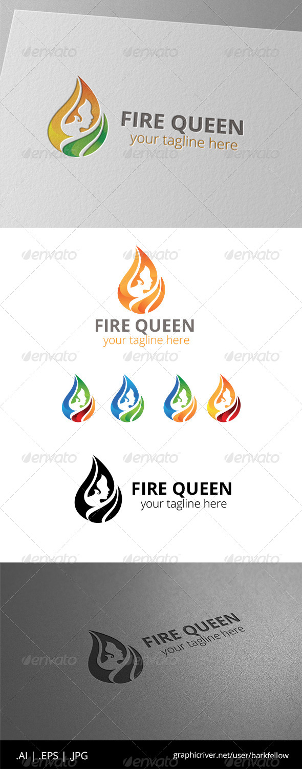 GraphicRiver Fire Hair Women Logo 8508866