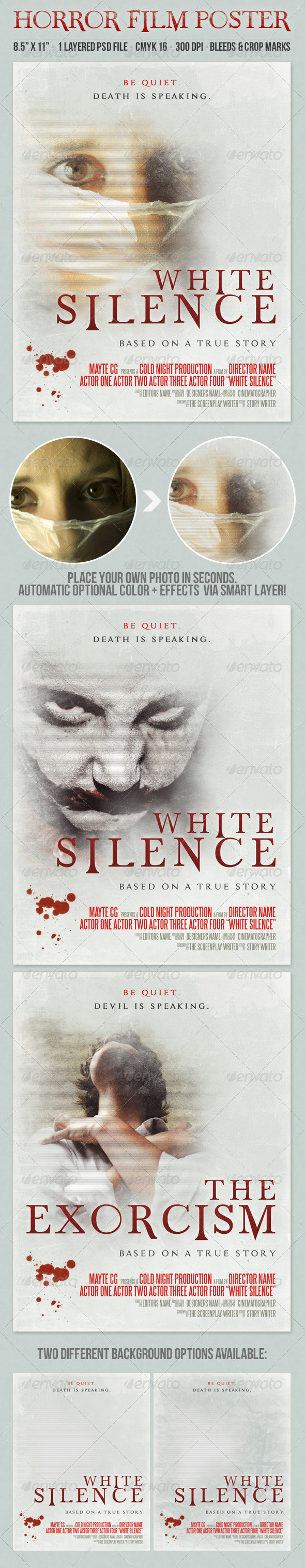 GraphicRiver White Silence Grunge Style Horror Film Poster 8509754