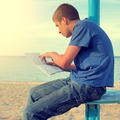 Teenager read Letter outdoor - PhotoDune Item for Sale