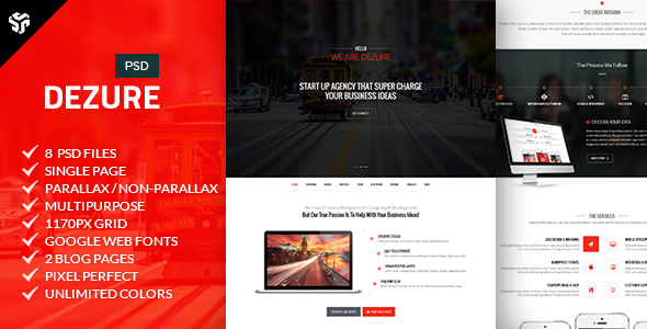 ThemeForest Dezure Multi-Purpose Parallax PSD Landing Page 8510313