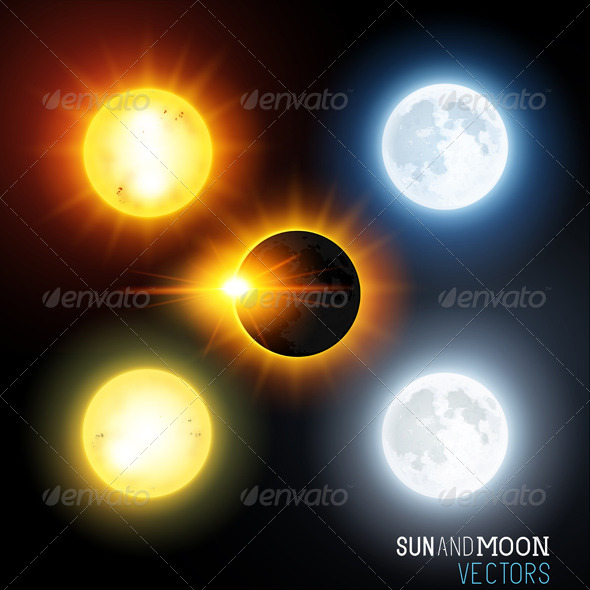 GraphicRiver Sun and Moon Set 8510397