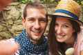 Selfie photo of a young couple enjoying day in outdoors. - PhotoDune Item for Sale