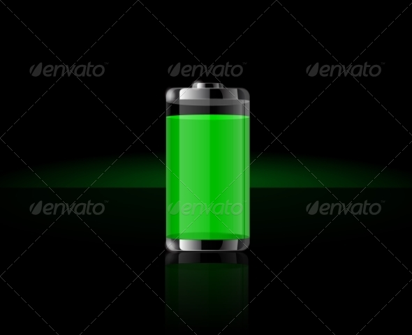 Glossy Transparent Full Green Battery