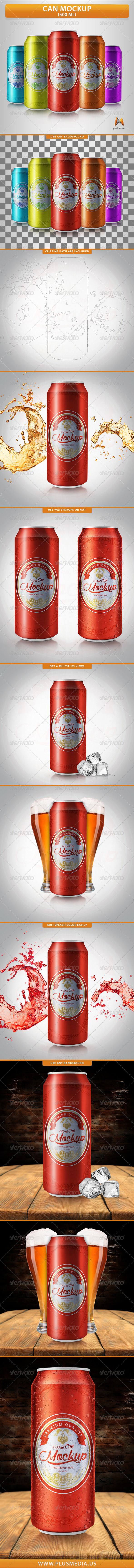 GraphicRiver Can Mockup 500 ml 8511202