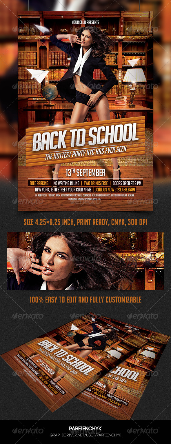 GraphicRiver Back to School Party Flyer 8511203