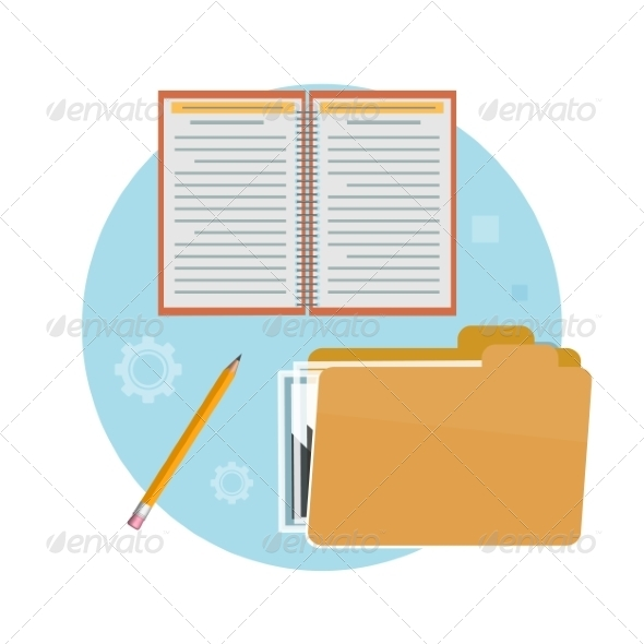GraphicRiver Folder Notebook and Pencil 8511305